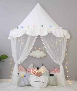 Wall Tent in White Ruffles + Mat Bundle