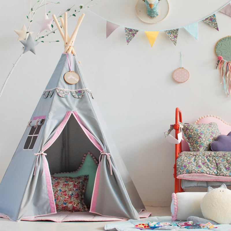 Premium Teepee in Powder Gray + Mat Bundle