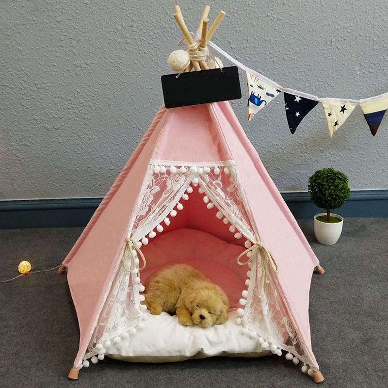 Pet Teepee in Canyfloss + Thick Cushion