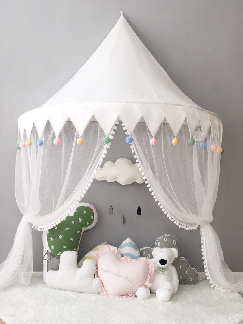 Wall Tent in White with Pompoms