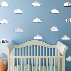 Acrylic Cloud Wall Sticker in Silver