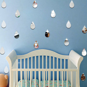 Acrylic Raindrop Wall Sticker in Silver