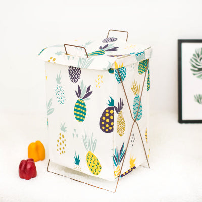 Metal Stand Storage Basket in Pineapple Frenzy