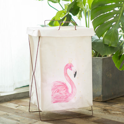 Metal Stand Storage Basket in Flamingo