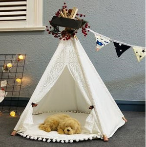 Pet Teepee in Lace + Pompom Mat