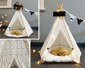 Pet Teepee in Lace + Thick Cushion