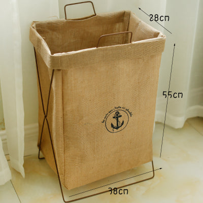 Metal Stand Storage Basket in Khaki