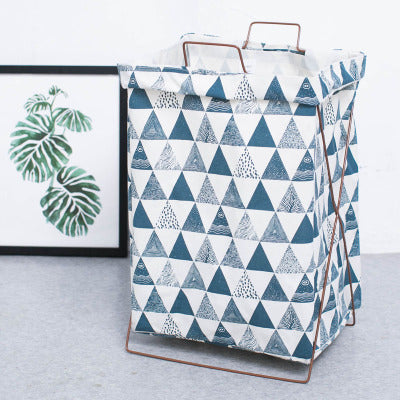 Metal Stand Storage Basket in Blue Geometric