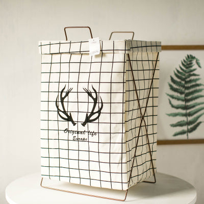 Metal Stand Storage Basket in White Grid