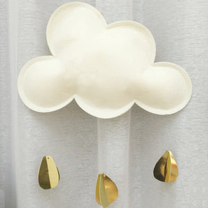 White Cloud with Gold Raindrops