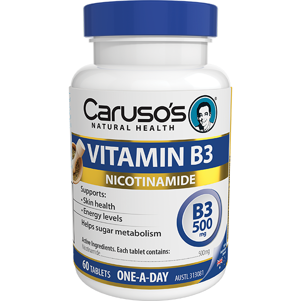 Carusos Natural Health Vitamin B3 500mg 60 Tablets