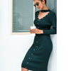 Long Sleeve Hollow Out Sweater Dress