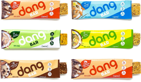 Dang Bar Keto Low Carb Low Sugar Six Flavor Variety Pack - Chocolate Sea Salt, Lemon Matcha, Almond Vanilla, Cardamom Chai, Saigon Cinnamon Chocolate, Toasted Coconut