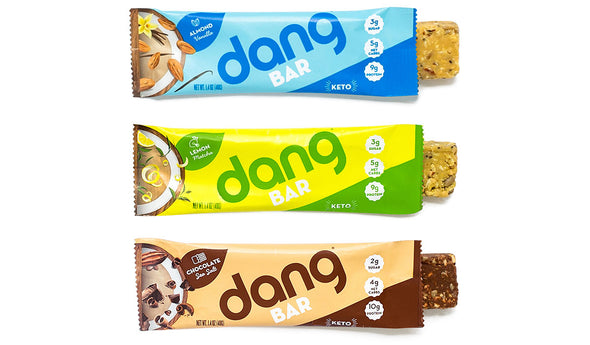 Dang Bar Keto Low Carb Low Sugar Three Flavor Variety Pack - Chocolate Sea Salt, Lemon Matcha, Almond Vanilla