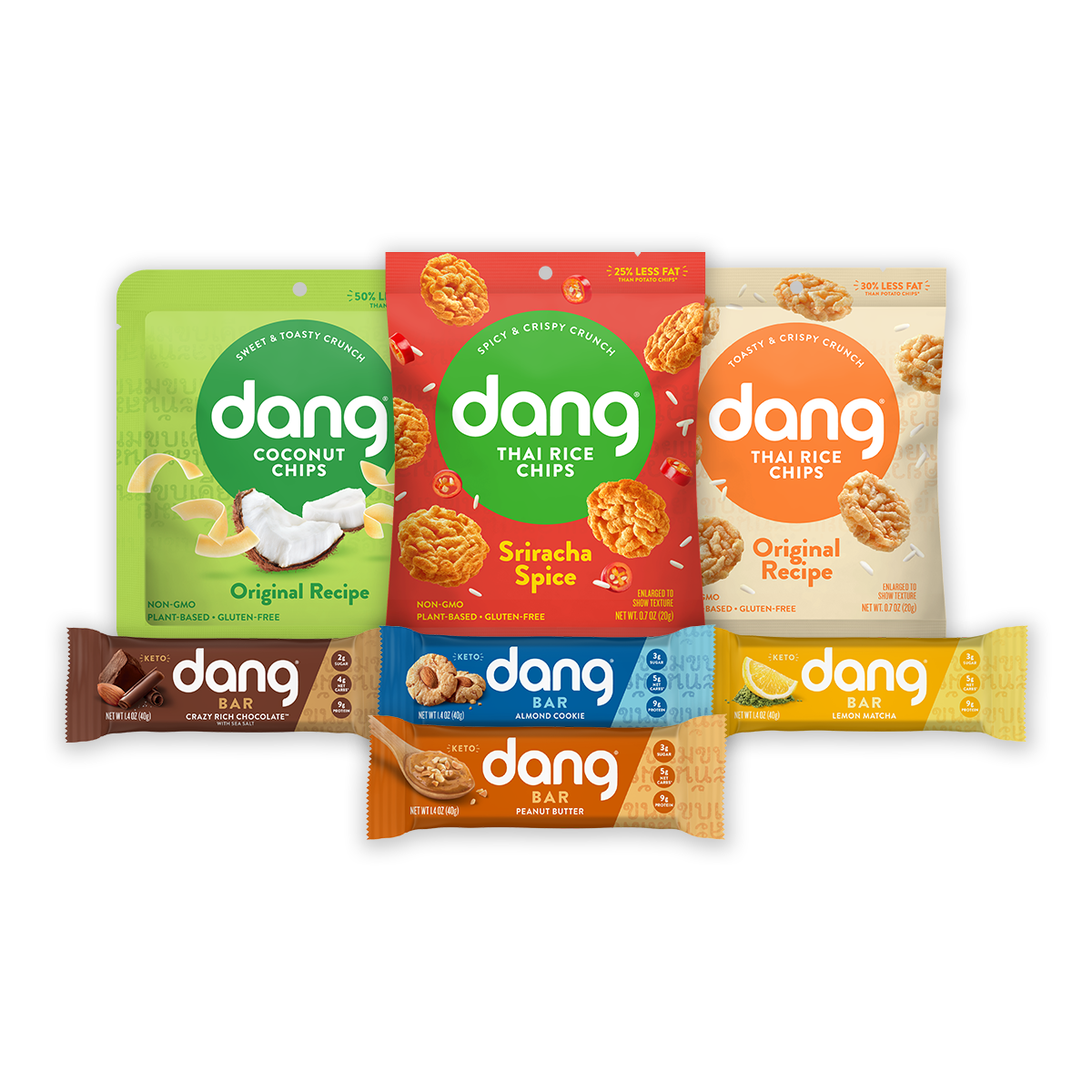 Stay-At-Home Bundle with Coconut Chips, Thai Rice Chips, Dang Bar (60 Count)