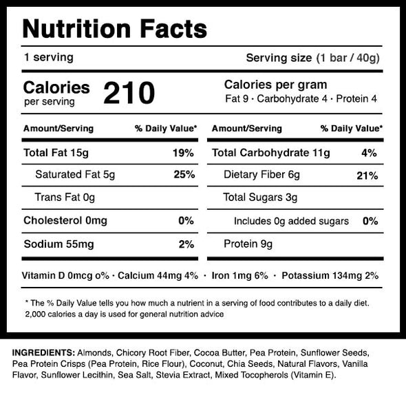 Dang Bar Almond Vanilla Nutrition Panel