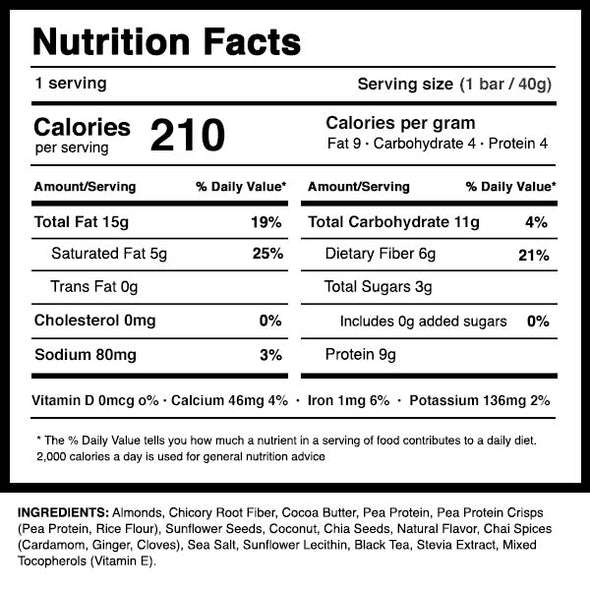 Dang Bar Cardamom Chai Nutrition Panel