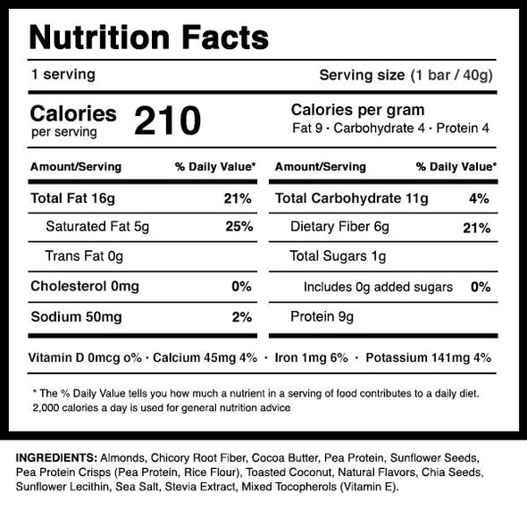 Dang Bar Toasted Coconut Nutrition Panel