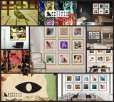 Collage of Gallery Wall grids and vintage, boho, eclectic wall art from Gallery Wallrus