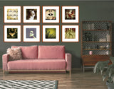 An eclectic gallery grid wall with 8 art prints sized 16x16 inch in thin light wooden picture frames hanging above a cute baby pink velvet sofa in a bohemian vintage living room with retro shelves and a jazzy rug.