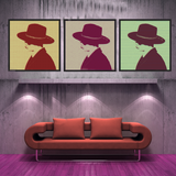 Set of 3 Boy in a Big Hat Square Art Prints displayed in a gallery wall row with different vintage different colours and patterns.