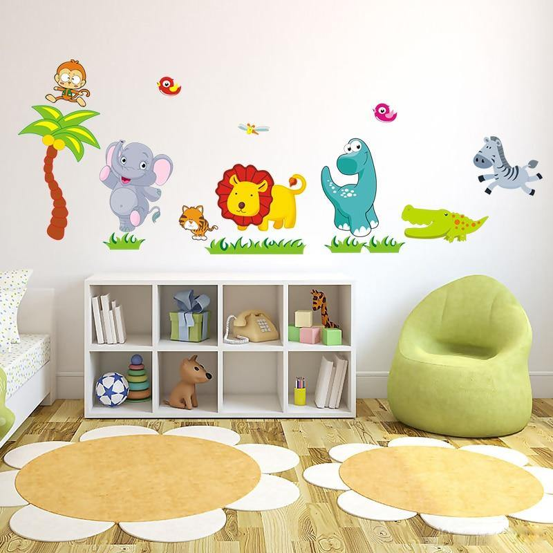 Playing Cute Zoo Animals Kids Wall Stickers from Gallery Wallrus | Eclectic Wall Art & Decor with Worldwide Shipping