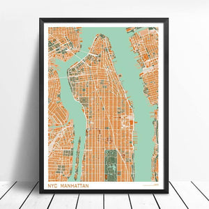 Large Retro City Map Art Prints (Various Styles) 2 from Gallery Wallrus | Eclectic Wall Art & Decor with Worldwide Shipping