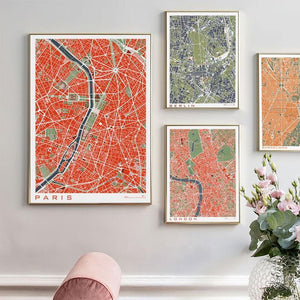 Large Retro City Map Art Prints (Various Styles) from Gallery Wallrus | Eclectic Wall Art & Decor with Worldwide Shipping