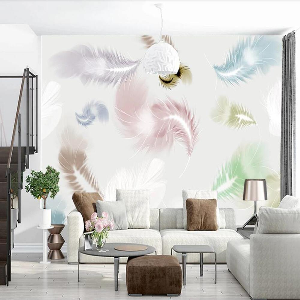 Neon Pastel Colors Feathers Wall Mural from Gallery Wallrus | Eclectic Wall Art & Decor with Worldwide Shipping