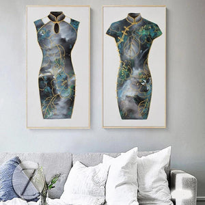 Chinese Dress Artwork Set of 2 from Gallery Wallrus | Eclectic Wall Art & Decor with Worldwide Shipping