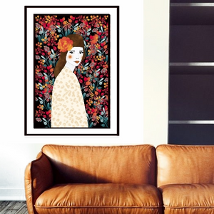 Large Boho Floral Girl from Gallery Wallrus | Eclectic Wall Art & Decor with Worldwide Shipping