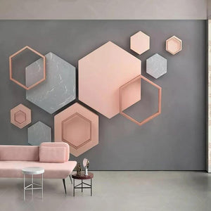 3D Pastel Hexagonal Geometric Wall Mural from Gallery Wallrus | Eclectic Wall Art & Decor with Worldwide Shipping