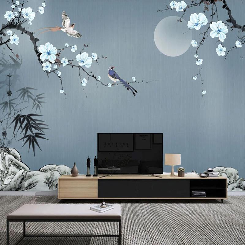 3D Bamboo Leaves Plum Blossoms Wall Mural from Gallery Wallrus | Eclectic Wall Art & Decor with Worldwide Shipping