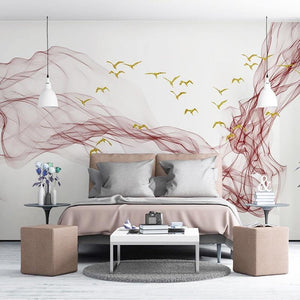 Modern Abstract Maroon Ink Line Wall Mural from Gallery Wallrus | Eclectic Wall Art & Decor with Worldwide Shipping