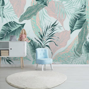 Modern Pastel Tropical Leaves Wall Mural from Gallery Wallrus | Eclectic Wall Art & Decor with Worldwide Shipping