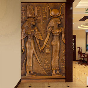 Embossed Egyptian Pharaoh & Queen Wall Mural from Gallery Wallrus | Eclectic Wall Art & Decor with Worldwide Shipping