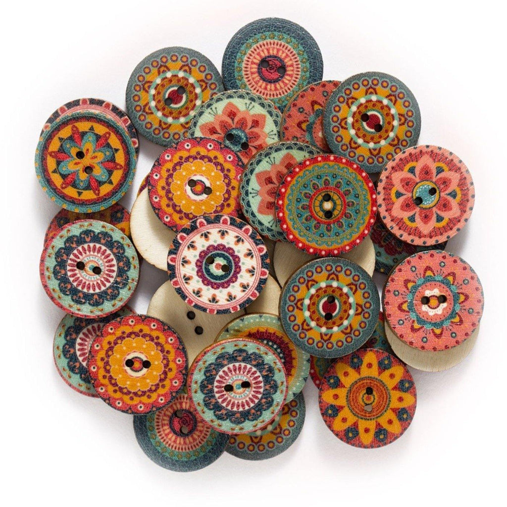 50pcs of Bohemian Wood Buttons from Gallery Wallrus | Eclectic Wall Art & Decor with Worldwide Shipping