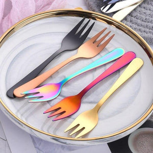 18/8 Stainless Steel Colorful Dessert Forks from Gallery Wallrus | Eclectic Wall Art & Decor with Worldwide Shipping