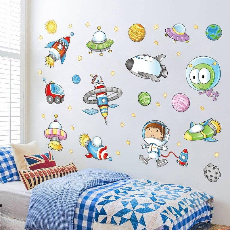 Cartoon Astronauts Space Stellar Wall Stickers from Gallery Wallrus | Eclectic Wall Art & Decor with Worldwide Shipping