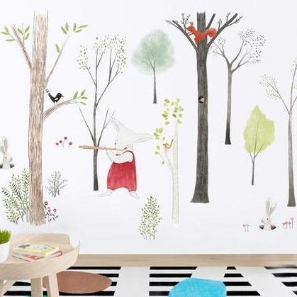 Large Nordic Tree Forest Animal Cartoon Wall Stickers from Gallery Wallrus | Eclectic Wall Art & Decor with Worldwide Shipping