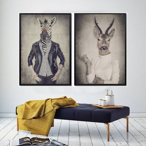 Hipster Gallery Wall Duo of a Zebra and Stag from Gallery Wallrus | Eclectic Wall Art & Decor with Worldwide Shipping