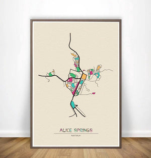 Colorful City Map Wall Art Prints Adelaide, Albuquerque + More from Gallery Wallrus | Eclectic Wall Art & Decor with Worldwide Shipping