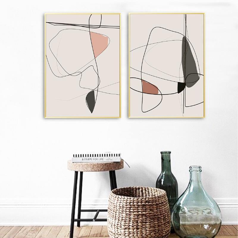 Minimalist Peach and Black Sketch Art Picture from Gallery Wallrus | Eclectic Wall Art & Decor with Worldwide Shipping