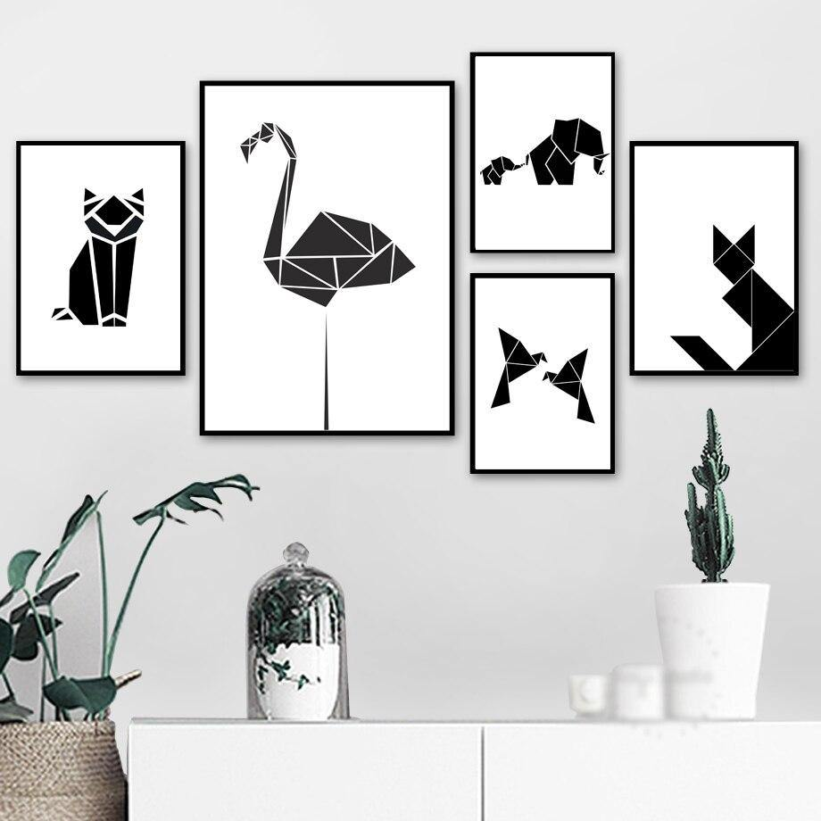 Abstract Black & White Geometric Cat Dog Elephant Wall Art Prints from Gallery Wallrus | Eclectic Wall Art & Decor with Worldwide Shipping