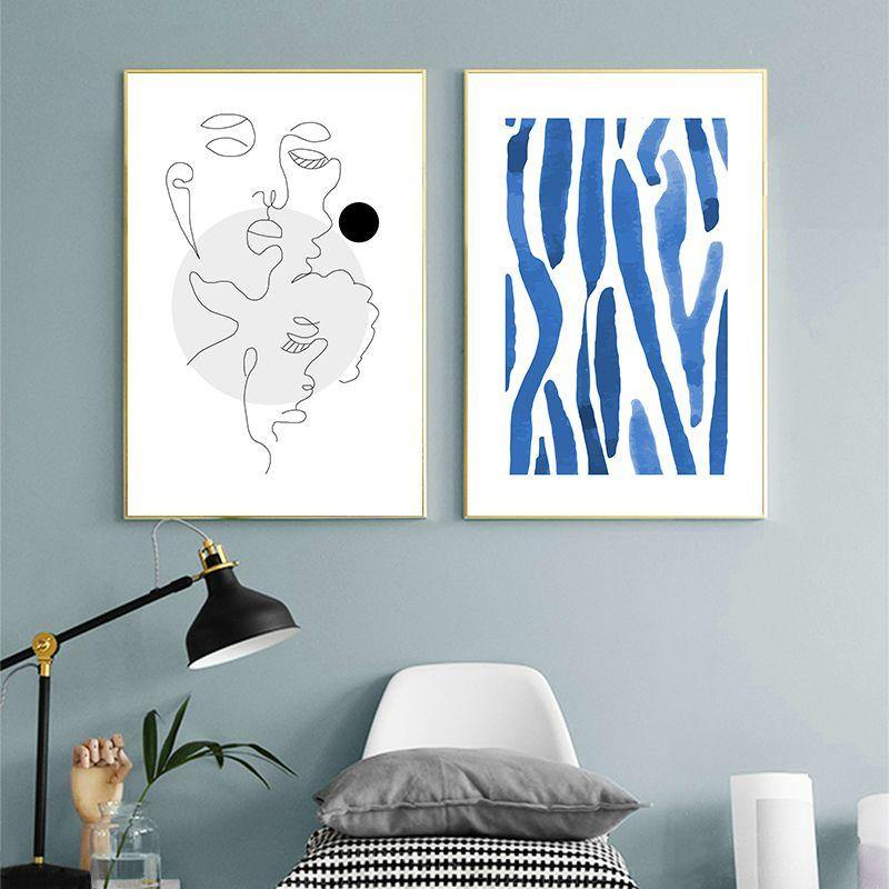 Minimalist Blue Abstract Body Line Wall Art Pictures from Gallery Wallrus | Eclectic Wall Art & Decor with Worldwide Shipping