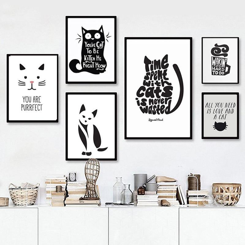 Fun Cat Illustration and Quotes Black & White Cartoon Gallery Wall Art Prints from Gallery Wallrus | Eclectic Wall Art & Decor with Worldwide Shipping