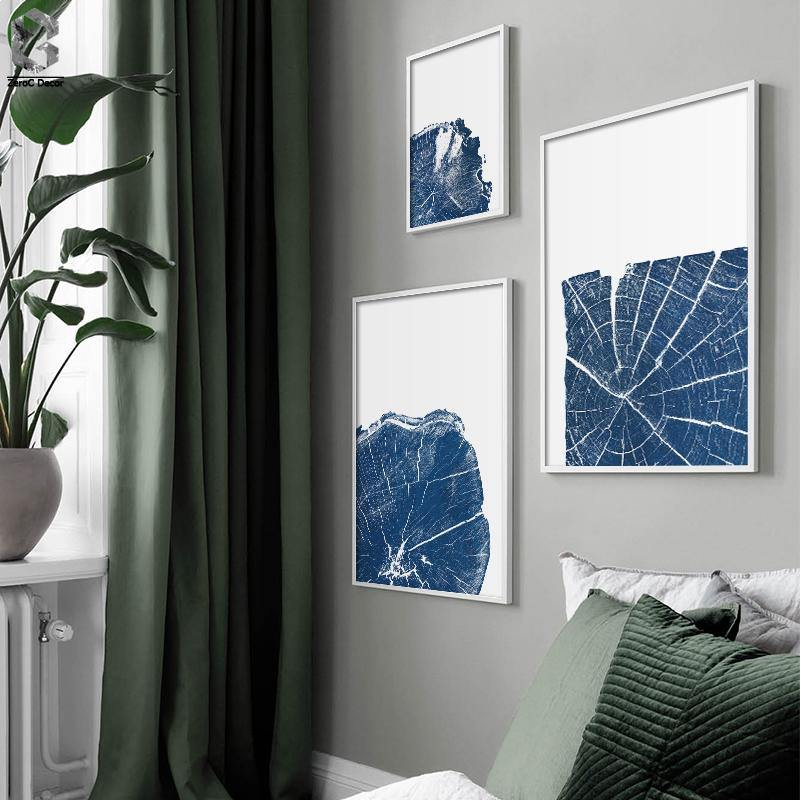 Abstract Blue Tree Trunk Rings Gallery Wall Modern Art Prints from Gallery Wallrus | Eclectic Wall Art & Decor with Worldwide Shipping