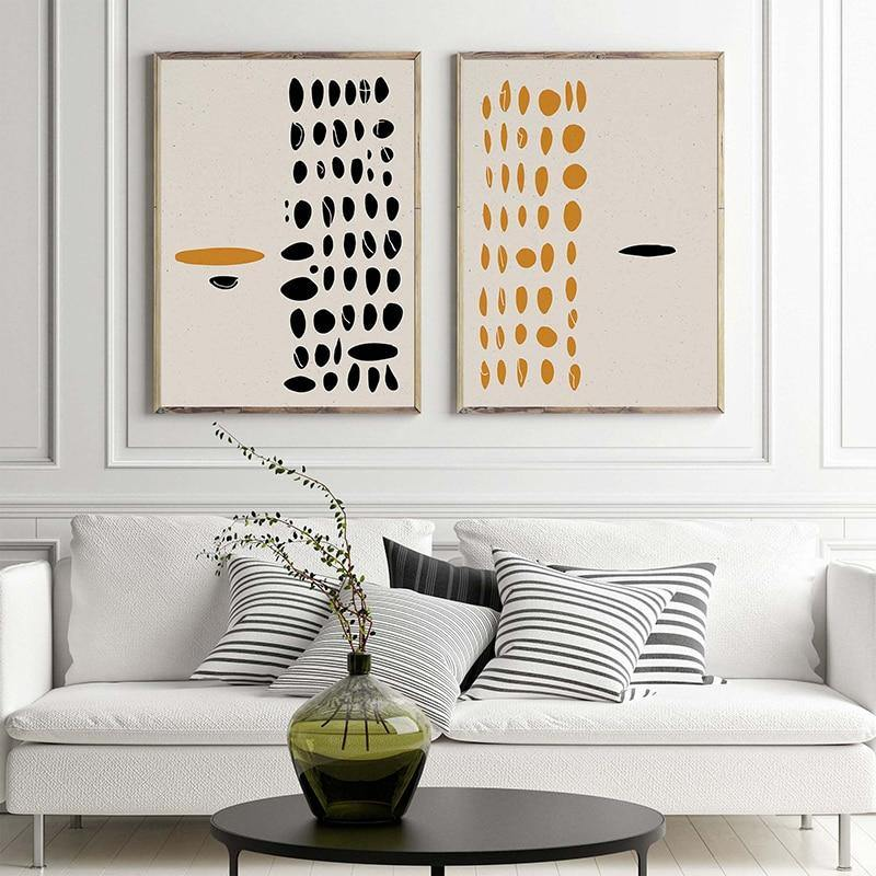 Abstract Black & Yellow Dot Duo Art Prints from Gallery Wallrus | Eclectic Wall Art & Decor with Worldwide Shipping