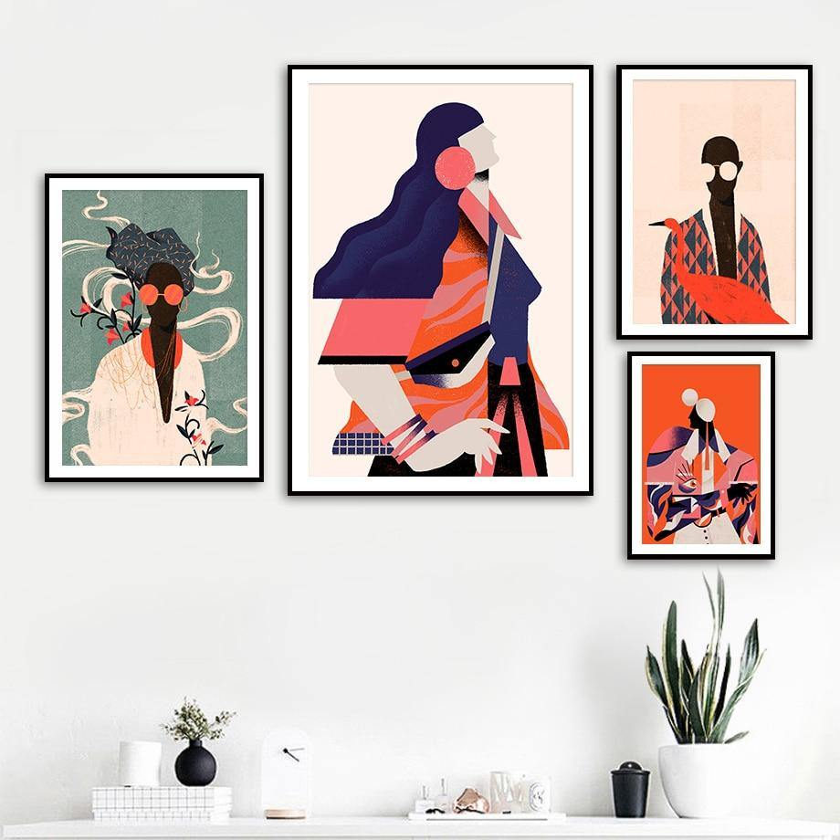 Bright Orange Tones Fashion Artwork Gallery Wall Prints from Gallery Wallrus | Eclectic Wall Art & Decor with Worldwide Shipping