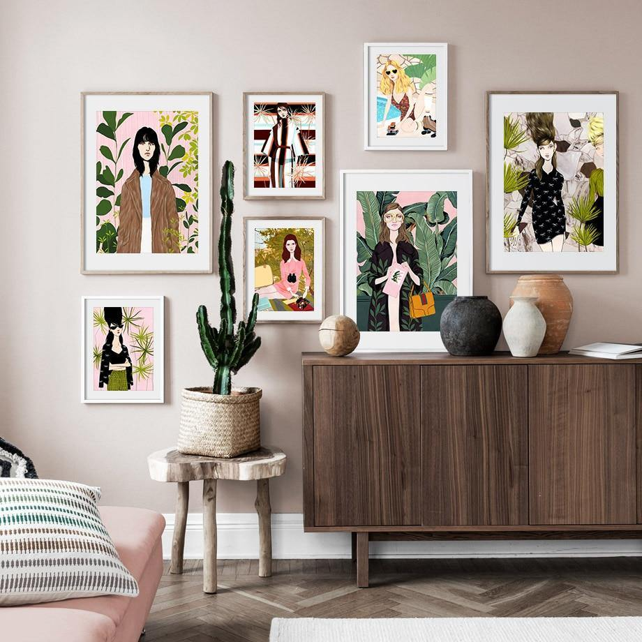 Hipster Girl Paintings Gallery Wall Art Prints Mix Match